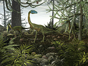 Roaming Digital Art Posters - Coelophysis Dinosaurs Walk Amongst Poster by Walter Myers