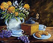 Richard Art - Coffee and Croisssants by Richard T Pranke