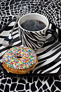 Drinks Prints - Coffee and donut on striped plate Print by Garry Gay