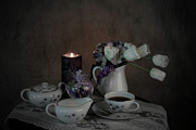 Sherry Hallemeier Posters - Coffee and Lace Table Cloth by Candle Light Poster by Sherry Hallemeier