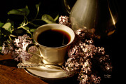 Food And Beverage Art Prints - Coffee and Lilacs In The Morning Print by Lois Bryan