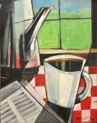 Java Paintings - Coffee And Morning News by Tim Nyberg