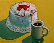 Coffee Mug Prints - Coffee and Strawberry Cake Print by Doug Strickland