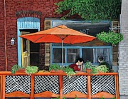 Montreal Summer Scenes Prints - Coffee at Nu Art Cafe Verdun Print by Reb Frost