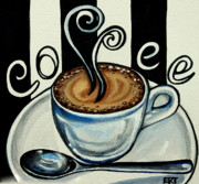 Home Plate Framed Prints - Coffee at the Cafe Framed Print by Elizabeth Robinette Tyndall