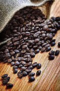 Burlap Prints - Coffee beans Print by Elena Elisseeva