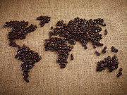 Surrey Posters - Coffee Beans Forming World Map On Burlap Poster by Adam Gault