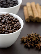 Anise Posters - Coffee Beans In Bowl With Star Anise And Cinnamon Sticks, Close-up Poster by Claudia Uribe