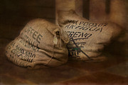 Digitally Enhanced Posters - Coffee Beans in Burlap Bags Poster by Susan Candelario