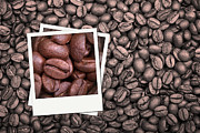 Latte Posters - Coffee beans polaroid Poster by Jane Rix