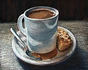 Contemporary Realism Pastels Posters - Coffee Break Poster by Ariel Freeman
