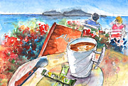 Food And Beverage Drawings Posters - Coffee Break in Agia Georgios in Crete Poster by Miki De Goodaboom
