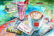 Coffee Mug Drawings Prints - Coffee Break In Agios Nikolaos in Crete Print by Miki De Goodaboom