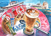 Food And Beverage Drawings Posters - Coffee Break in Elounda in Crete Poster by Miki De Goodaboom
