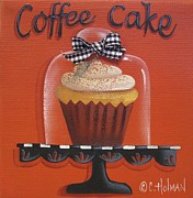 Kitchen Decor Framed Prints - Coffee Cake Cupcake Framed Print by Catherine Holman