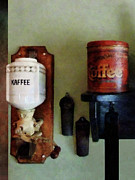 Coffee Framed Prints - Coffee Can and Coffee Grinder Framed Print by Susan Savad
