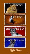 Tabby Prints - Coffee Cats... Print by Will Bullas