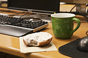 Coffee Mug Prints - Coffee Cup and Bagel on a Desk Print by Jetta Productions, Inc