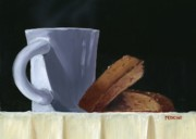 Biscotti Prints - Coffee Cup with Biscotti Print by Don Pedicini
