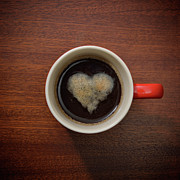 Coffee Mug Prints - Coffee Cup With Crema Resembling A Heart Shape Print by David Malan