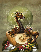 Dragon Framed Prints - Coffee Dragon Framed Print by Stanley Morrison