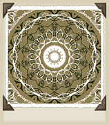 Rosette Digital Art Prints - Coffee Flowers 1 Olive Medallion Scrapbook Print by Angelina Vick