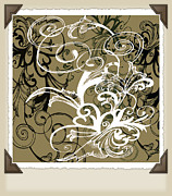 Rotation Framed Prints - Coffee Flowers 1 Olive Scrapbook Framed Print by Angelina Vick