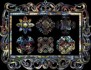 Rosette Digital Art Prints - Coffee Flowers Ornate Medallions 6 Piece Collage Aurora Borealis Print by Angelina Vick