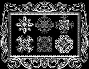 Heavens Digital Art Prints - Coffee Flowers Ornate Medallions BW 6 Piece Collage Framed  Print by Angelina Vick