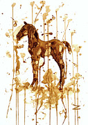 Foal Framed Prints - Coffee foal Framed Print by Zaira Dzhaubaeva