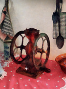 Grinders Photos - Coffee Grinder on Red Tablecloth by Susan Savad