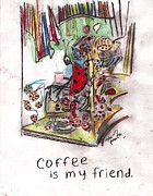 Ladybug Mixed Media Acrylic Prints - Coffee is my friend Acrylic Print by David Peace