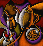 Teapot Painting Posters - Coffee Poster by Leon Zernitsky