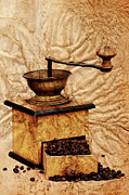 Aging Digital Art Posters - Coffee Mill And Beans In Grunge Style Poster by Michal Boubin