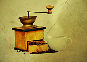 Grungy Posters - Coffee Mill And Cup Of Hot Black Coffee Poster by Michal Boubin