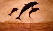 Coffee Art Prints - Coffee Painting Dolphins Playing Print by Georgeta  Blanaru