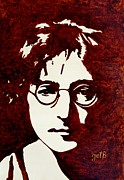 Beatles Metal Prints - Coffee painting John Lennon Metal Print by Georgeta  Blanaru
