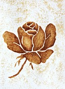 Coffee Paintings - Coffee painting Rose Blooming by Georgeta  Blanaru