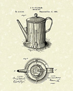 Pot Drawings Metal Prints - Coffee Pot 1889 Patent Art  Metal Print by Prior Art Design