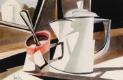 Teapot Paintings - Coffee Pot and Teacup by Gaylon Dingler