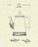 Coffee Drawings Prints - Coffee Pot Design 1899 Patent Art Print by Prior Art Design