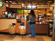 Friendly Digital Art - Coffee Shop - Starbucks by Fred Jinkins