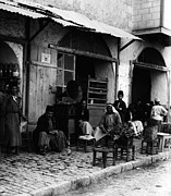 1910s Candid Framed Prints - Coffee Shop With Gramophone, Jerusalem Framed Print by Everett