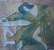 Trench Drawings - Coffee Tea Or Me by Diane montana Jansson