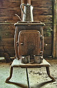 Antique Wood Burning Stove Prints - Coffees On Print by Katie Abrams