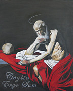 Caravaggio Paintings - Cogito Ergo Sum after Caravaggios St. Jerome Thinking by Erin Brinkman