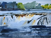 Spot Painting Framed Prints - Cohoes Falls study 2 Framed Print by Len Stomski