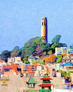 San Francisco Landmarks Digital Art Metal Prints - Coit Tower and The Empress of China - Photo Artwork Metal Print by Wingsdomain Art and Photography