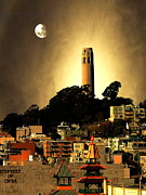 San Francisco Bay Mixed Media Posters - Coit Tower and The Empress of China Under The Golden Moonlight Poster by Wingsdomain Art and Photography