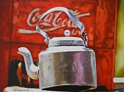 Coca-cola Sign Paintings - Coke and Tea by Caren Bestbier